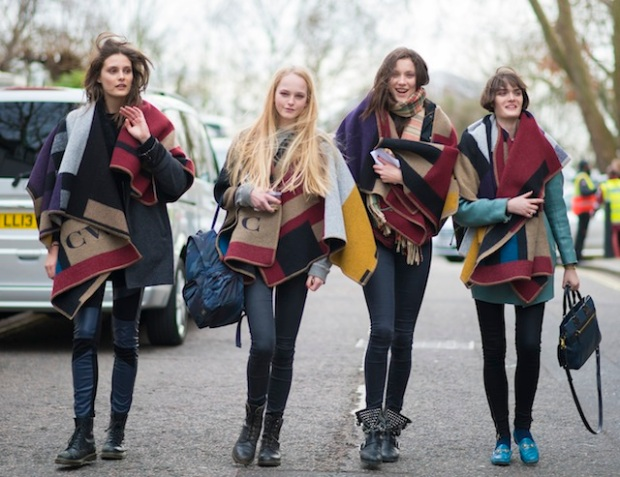 Charlotte-Wiggins-Jean-Campbell-Matilda-Lowther-and-Sam-Rollinson-wearing-Burberry-Monogram-Poncho-17th-February-2014-1 (1)